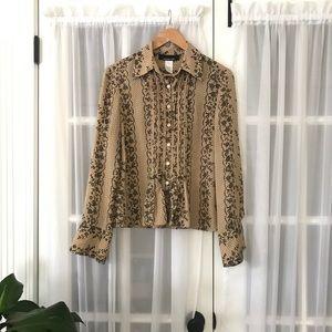 Jones New York Silk Lace Print Button Down Shirt
